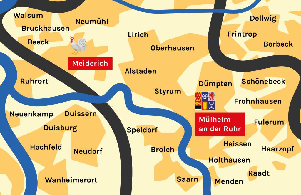 Karte Meiderich und Mülheim an der Ruhr