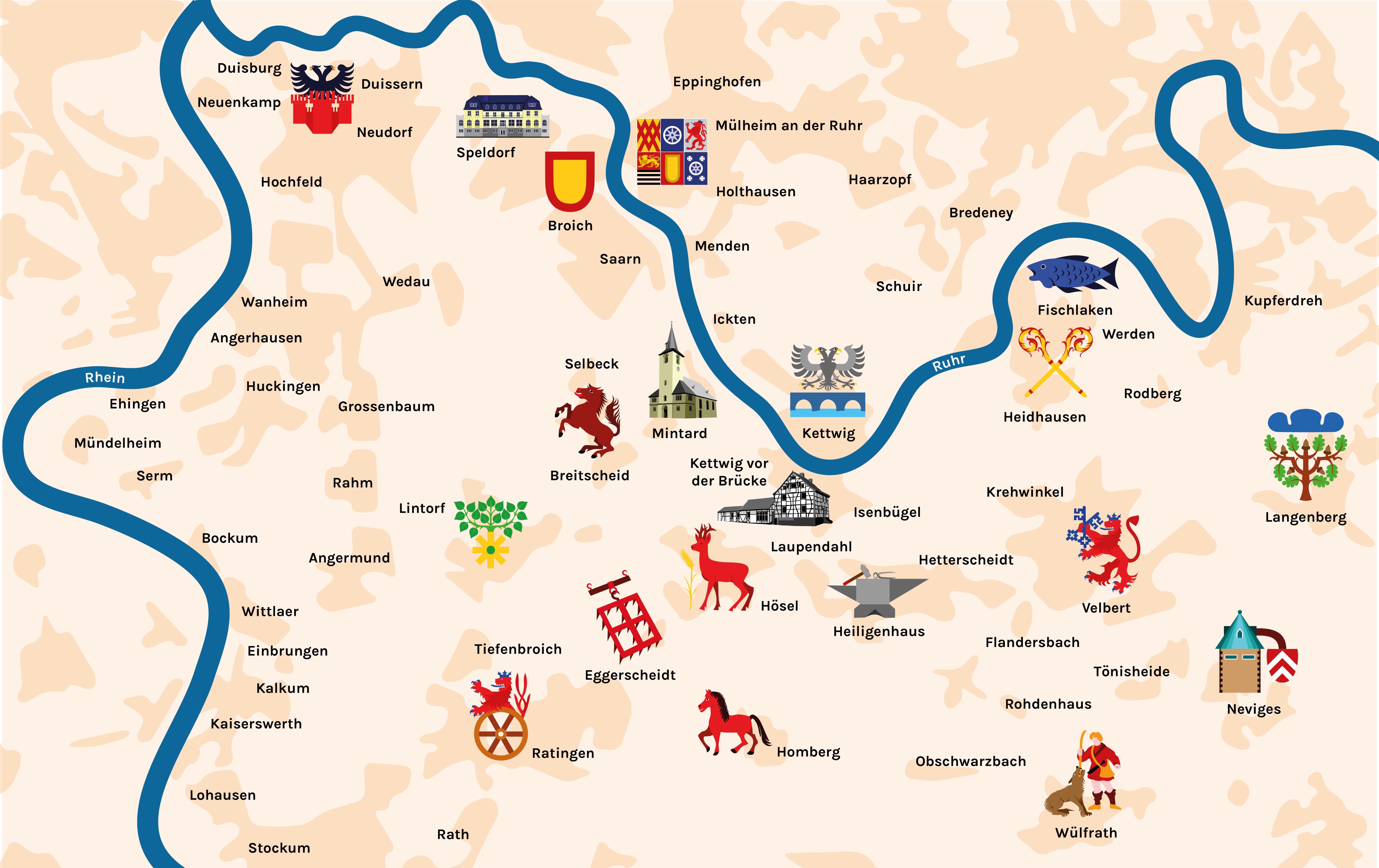 Karte des niederbergischen Landes