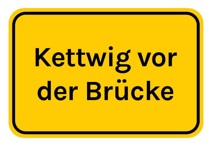 Ortstafel Kettwig vor der Brücke